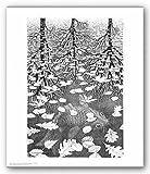 (11x14) M.C. Escher Three Worlds Art Print Poster