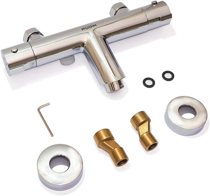montaggio a parete con corpo in ottone cromato PUDIN Rubinetto miscelatore termostatico per vasca da bagno