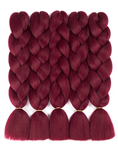 Twist Red Wine - Forevery Braiding Hair Synthetic Ombre Hair Braiding Extensions High Temperature Fiber Crochet Twist Braids (24
