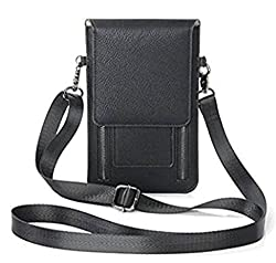 Yajama Small Women Leather Shoulder Crossbody Bag Travel Camping Handbag Purse Credit Card Wallet Black