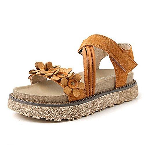 CYBLING Women Flatform Sandals Summer Chunky Fashion Flower Thick Sole Beach Sandal Brown Nu4EA2tl