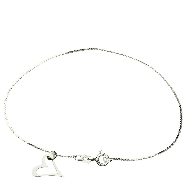 "Sterling Silver Heart Charm Serpentine Nickel Free Chain Bracelet Italy, 7.5"""