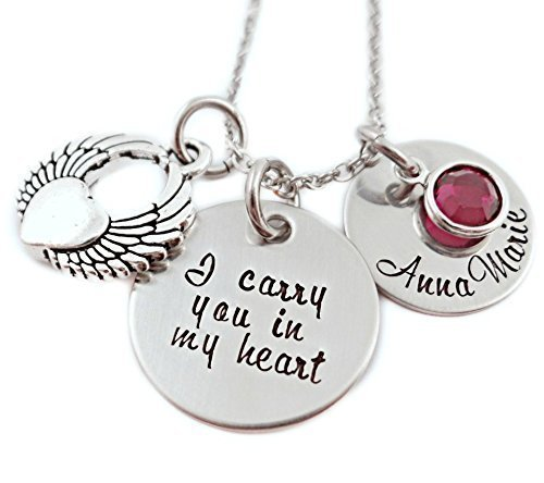 I Carry You in My Heart Memorial Necklace - Engraved Jewelry - 1315