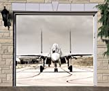 Jet Plane Banner Single Garage Door Covers Door 3D Effect Print Decor Garage Full Color Airplane Billboard Mural Made in the USA Size 83 x 96 inches DAV162