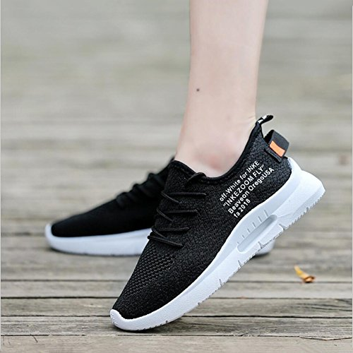 XUEXUE Men's Shoes Knit Spring Fall Lace-up Breathable High-Top Sneakers Running Shoes Outdoor Hiking Shoe Comfort Light Soles Athletic Shoes Light Soles Black, White (Color : B, Size : 38) by XUEXUE (Image #1)