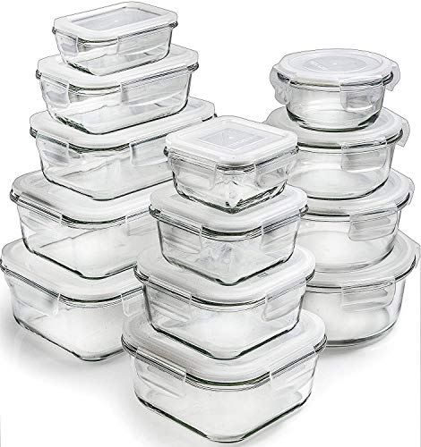 Prep Naturals [13-Pack] Glass Storage Containers with Lids - Glass Food Storage Containers Airtight - Glass Containers With Lids - Glass Meal Prep Containers Glass Food Containers