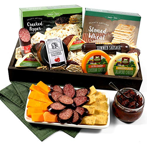 Gourmet Meat & Cheese Sampler Gift Basket - Deluxe Charcuterie Cheese Platter - GourmetGiftBaskets.com Food Gifts (Best Food Of The Month Gifts)