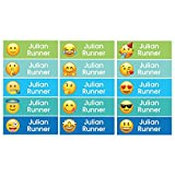 Set 68 Personalized kid Name back to school Stickers cute 13 patterns emoji face (blue on waterproof labels)