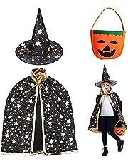 HUYIWEI Halloween tovenaarskostuum, pompoenzak en zwarte tovercape met hoed, mantel ster cape, jongens meisjes cosplay, geschikt voor een lengte van 110 ~ 160 cm