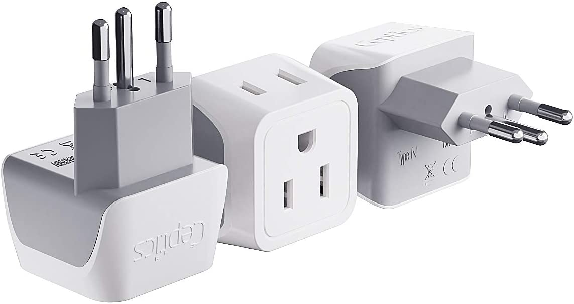 Ceptics Brazil Travel Adapter Plug with Dual Usa Input - Type N (3 Pack - Ultra Compact - Safe Grounded Perfect for Cell Phones, Laptops, Camera Chargers and More - Power Plug (CT-11C)