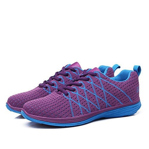 Stq Mujeres Casual Flyknit Zapatos Transpirable Ligero Mesh Walking Sneakers Lace Up Purple