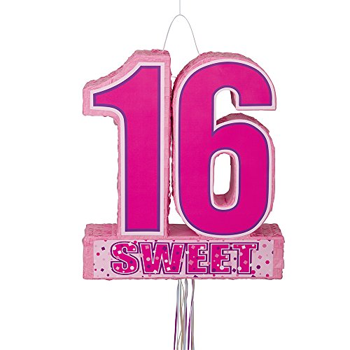 Sweet 16 Birthday Pinata, Pull String (16 Pinatas Sweet)
