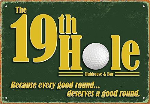 19th Hole Tin Sign (Golf Decor For Home)