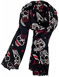 Women's Pure Wool Sugar Skull Print Super Soft Long Scarf Shawl