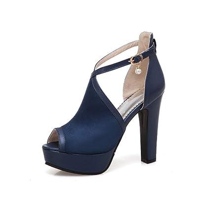 ad9998169d803 Amazon.com: YXB Women's Sandals 2019 Heels Shoes Pu Cross Buckle ...