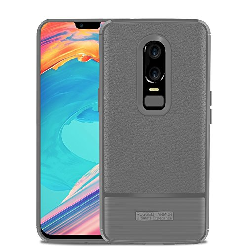 size 40 aa8a6 ea6b9 OnePlus 6 Case,Carbon Fiber Luxury Flexible Shock-Absorption TPU Rugged  Armor Heavy Duty Protective Bumper Cover Case Smartphone Oneplus 6(Gray)