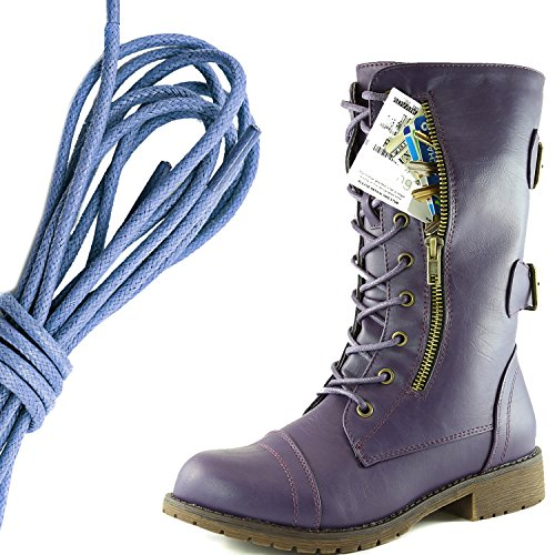 Dailyshoes Donna Militare Allacciatura Fibbia Da Combattimento Stivali Metà Ginocchio Alta Tasca Esclusiva Per Carte Di Credito, Blu Royal Dolce Viola