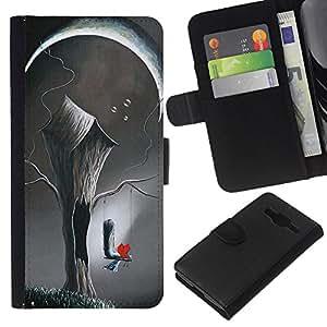 Arte Deep Love Pintura Significado- la tarjeta de Crédito Slots PU Funda de cuero Monedero caso cubierta de piel Para Samsung Galaxy Core Prime
