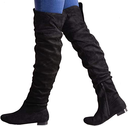 Knee Flat Long Boots Suede Black