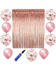 مجموعة بالونات لتزيين الحفلات مع ستارة روز جولد