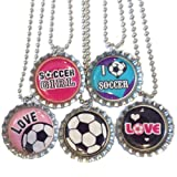 5 Soccer Bottlecap Necklaces - Party Favor