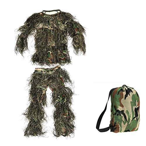 [Hunting Clothing Children Kids Camouflage Ghillie Suit Woodland Leaf Ghillie Suits] (Ghillie Suit Costume Youth)