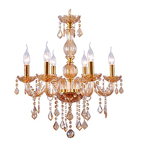 Modern European Style Crystal Candle Chandeliers Lighting 6 Lights Fixture Pendant Lamp for Dining Drawing Room Decoration (US Stock) - Antique Italian Tole