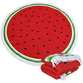 Large Round Picnic Mat Beach Blanket with Tassels Ultra Soft Super Water Absorbent Multi-Purpose Towel 59 inch across Multifunctional Purposes Blanket, ...