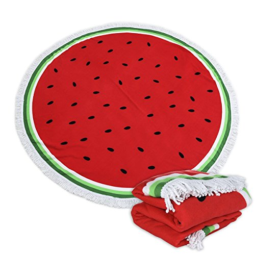 Polly House Large Round Beach Blanket with Tassels Ultra Soft Super Water Absorbent Multi-Purpose Towel 59 inch Across Multifunctional Purposes Blanket, Wash Machine Easy wash (016 Watermelon) for $<!--$19.99-->
