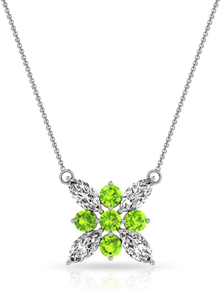 FSJ-744 Anniversary Gift 925 Solid Sterling Silver Luxury Jewellery Green Peridot Gemstone Pendant With Cross Design Faceted Cut Stone
