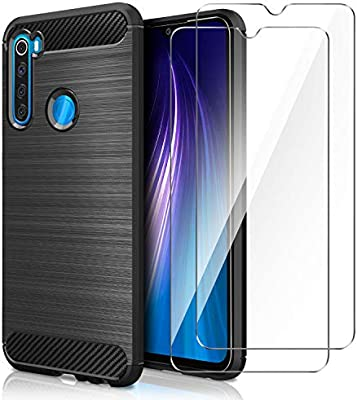 AROYI Funda Xiaomi Redmi Note 8, [2 Pack] Cristal Templado, Carcasa Silicona Fibra de Carbono TPU Alta Resistente y Flexibilidad Fundas Cover Caso ...