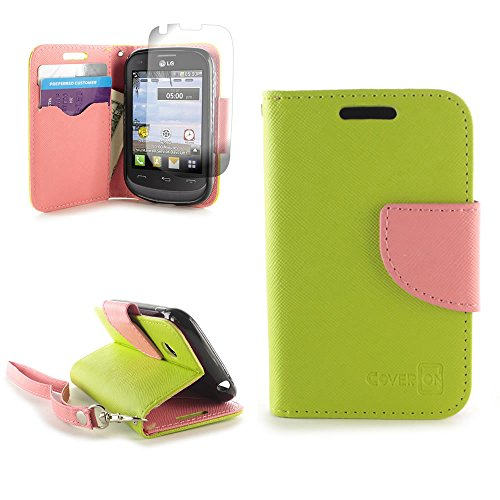 LG 306G Tracfone Case, Flip Stand Wallet [CoverON CarryAll Pouch] Tough Textured Design [Credit Card ID Slots and Wristlet Strap] Phone Cover Case for LG 306G Tracfone - Neon Green / Light Pink
