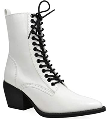 87e4c652c086 Shoe Republic Number Women s Lace-up Block Heels Ankle Boots Booties  Pointed Toe WhiteWhite 6