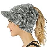 SK Hat shop Everyday Open Top Messy Bun Ponytail Stretchy Knit Visor Beanie Skull Hat Gray