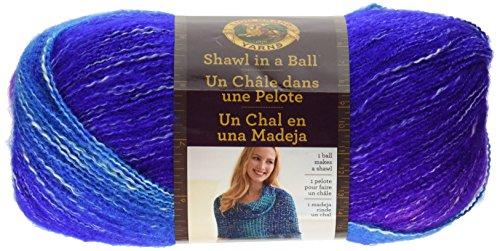 Ball Striped Crochet - Lion Brand Yarn Shawl in a Ball Hometown Yarn, Half Moon
