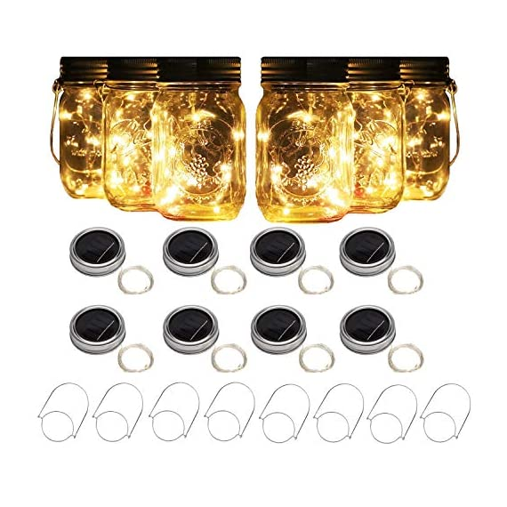 """8 Pack Solar Mason Jar Lights with 8 Handles, 10 Led String Fairy Firefly Lights Lids Insert for Regular Mouth Jars, Mason Jar,Patio,Lawn,Garden Decor (8, Warmwhite) - 8 Pack of Solar Mason Jar Lid Insert with 8 Handles (Mason Jar Not Included), 10 Led Bulbs, 37.79inch/96CM long, Lid Diameter Size: Outer 2.76 inch(70mm)/Insert 2.17 inch(55mm), suitable for any regular standard mouth mason jars,like all major brands: ball,kerr,golden harvest,kilner and generic mason jars Solar Powered LED Fairy Mason Jar Lantern, with 2V 70mA efficient solar panel,1.2 V 600mA Rechargeable AAA Battery Included.If not a bright day, AAA batteries can be used as a back-up power. Charging Methods:Charged automatically when put Solar-powered Mason Jar Lights directly under the sunlight(slide the switch to the """"ON"""" position when charging).Generally charged in the sun 6-8h will light up 8-12h. - patio, outdoor-lights, outdoor-decor - 513tDTsybAL. SS570  -"""
