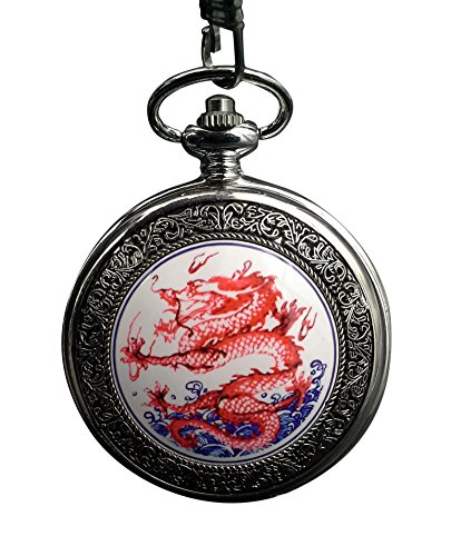 Watch Chain Pocket Silver Tone (ShoppeWatch Red Dragon Pocket Watch with Chain Quartz Silver tone Case Steampunk PW-178)