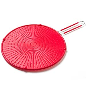 "Cook's Corner 12"" Silicone Spatter Screen with Handle - Red"