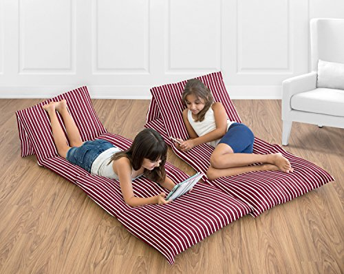 Sweet Jojo Designs Red and White Stripe Kids Teen Floor Pillow Case Lounger Cushion Cover (Pillows Not Included)