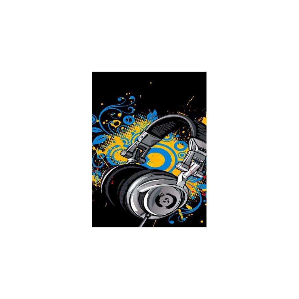 Rectangle Refrigerator Magnet   Anime Music Headphones w/ Swirl Designs Background