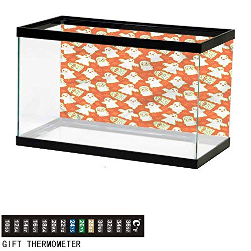 bybyhome Fish Tank Backdrop Burnt Orange,Funny Halloween Ghost,Aquarium Background,36