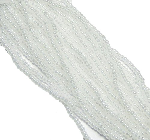 (White Pearl Luster Ceylon Czech 6/0 Seed Bead on Loose Strung 6 String Hank Approx 900)