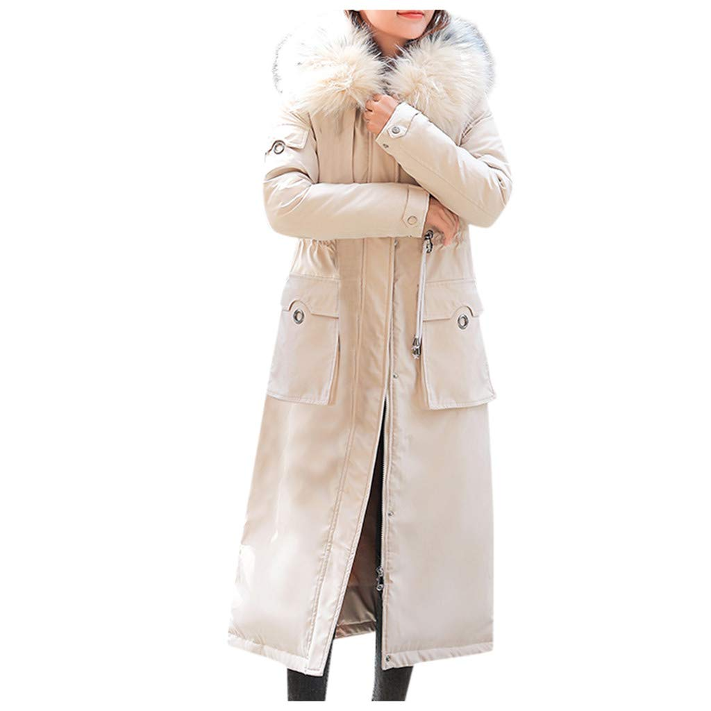 Fashionhe Women Outerwear Faux Hooded Button Coat Long Overcoat Solid Color Jackets Winter Wram Trench Coats(White.L) by Fashionhe