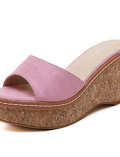 Shoes Open Dress Wedge Nero Toe Fleece Shangyi Sandals Grigio Rosa Women's 5xwI64OH