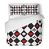 Emvency Bedding Duvet Cover Set Twin (1 Duvet Cover + 1 Pillowcase) Red Alice Suits On Chess Playing Worms Bubi Christen Peaks Wonderland Abstract Black Hotel Quality Wrinkle Stain Resistant