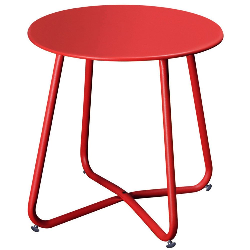 Grand patio Steel Coffee Bistro Table All Weather Outdoor Garden Backyard Ottoman Table, Red