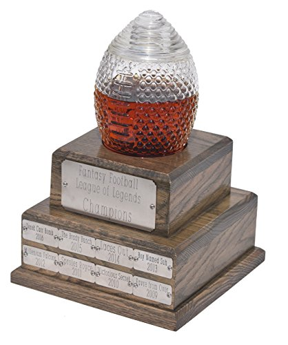 Custom Perpetual Fantasy Football Trophy Decanter - Pass Along League Champion Trophy - Holds 1000ml of Favorite Liquor, Whiskey, Bourbon, Rum, etc. - Up to 32 Years of Champions (Best Prize Fantasy Football Leagues)