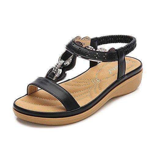 Wollanlily Women Summer Beach Flat Sandals Bohemia Flip-Flop Ankle Strap Thong Shoes Black-04 US 8