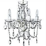 The Original Gypsy Color 4 Light Small Crystal Chandelier for H 17.5'' x W 15'', White Metal Frame with Clear Poly-carbonate Crystals