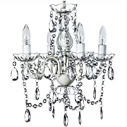 The Original Gypsy Color 4 Light Small Crystal Chandelier for H 17.5  x W 15 , White Metal Frame with Clear Poly-carbonate Crystals